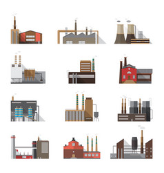 Set of industrial factory and plant buildings vector
