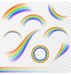 Set of realistic rainbows in different shape on vector