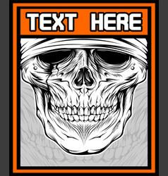 skull dj shirt design on dark background text is vector image