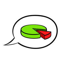 Speech bubble with a pie chart icon cartoon vector