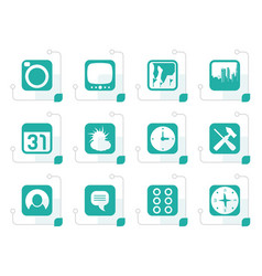 stylized mobile phone and computer icon vector image