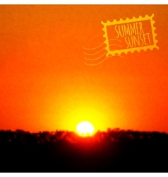 Summer sunset realistic background vector image