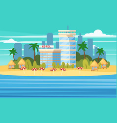 tropical island building hotels vacation travel vector image