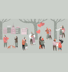 valentines day with happy couples vector image
