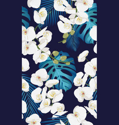 White orchid floral seamless pattern with vector