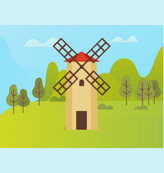 windmill construction nature park with trees vector image