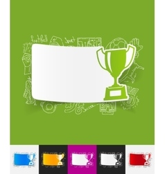 winner paper sticker with hand drawn elements vector image