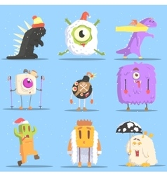 Winter Dressed Monsters in Funny Situations vector image