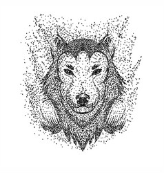 wolf headphone particle vector image