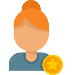 Woman reputation icon flat isolated vector