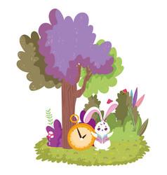 wonderland rabbit and clock tree bush cartoon vector image