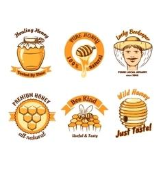 Honey labels and beekeeping logo vector image vector image