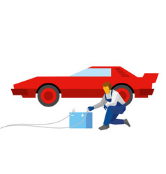 mechanic recharge battery for red sport auto vector image vector image