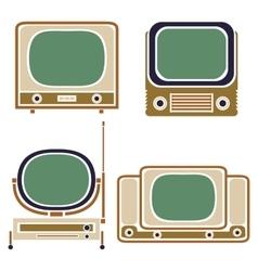 Old TV Vintage Set Retro Apparatus vector image vector image