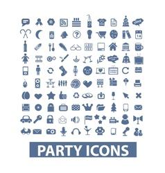 party birthday celebration icons set vector image