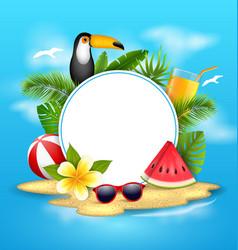 summer poster with toucan bird watermelon sea vector image vector image