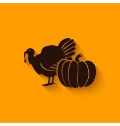 Thanksgiving symbols turkey and pumpkin vector image vector image