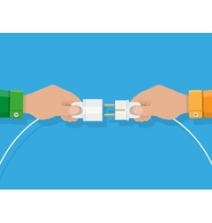 Two hands trying to connect electric plug together vector image vector image