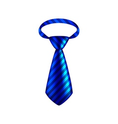Blue striped tie isolated on white vector image vector image