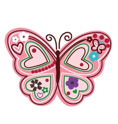 Colourful butterfly with flower vector