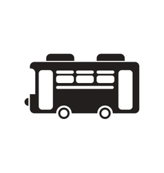 flat icon in black and white style retro bus vector image vector image