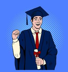 Graduate guy pop art vector