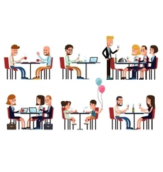People eating and talking in restaurant or coffee vector image vector image