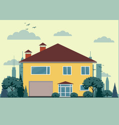 private house with garage vector image vector image