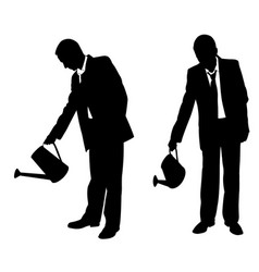 silhouettes of businessmen with sprinkler vector image vector image