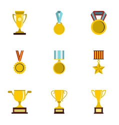 sport awards icons set flat style vector image vector image