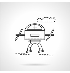 Unmanned drone flat line icon vector image
