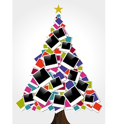 Christmas instant photo frame tree vector image