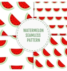 Colorful seamless patterns of watermelon slices vector image vector image