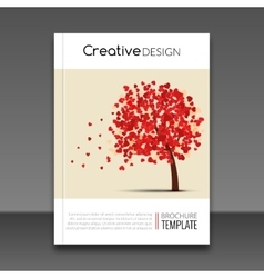 Cover report flyer colorful tree with hearts vector image vector image