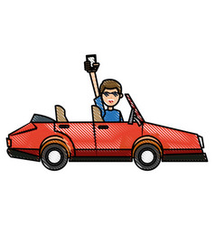 Drawing people holding smartphone in car image vector