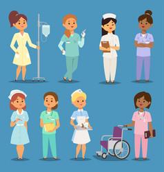 cartoon woman doctors nurses girl meeting vector image