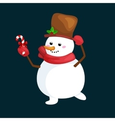 christmas white snowman in hat and scarf with vector image