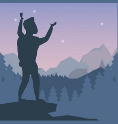 color night landscape silhouette of climber man vector image