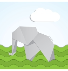 paper origami elephant icon on background vector image vector image