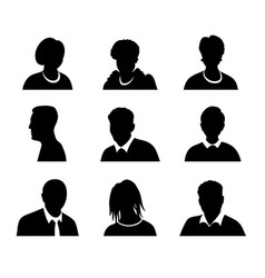 Set of men and women with business avatar vector
