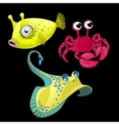 Set of three fish Stingray crab and cute bigeye vector image vector image