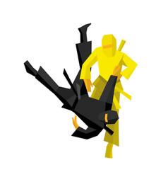 two japanese ninja warriors fight vector image
