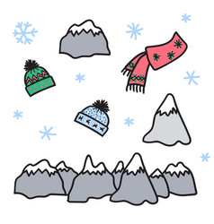 winter set of mountain hat scarf snow vector image