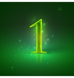 1 Green glowing number one vector