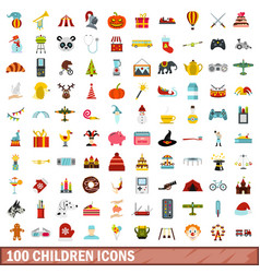 100 children icons set flat style vector