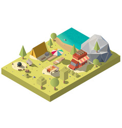 3d isometric territory for camping vector