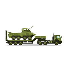 a military truck carries an armored personnel vector image