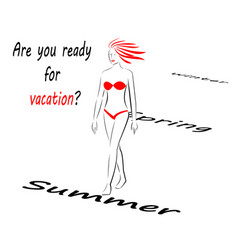 abstract girl in a red swimsuit goes to summer vector image