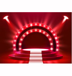 abstract round podium with white carpet vector image