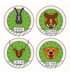 Animals line logo Set Nature Symbol Deer Bear Hare vector image